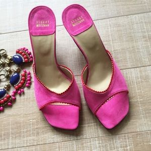 Stuart Weitzman Suede Pink Slide Sandals NEW!